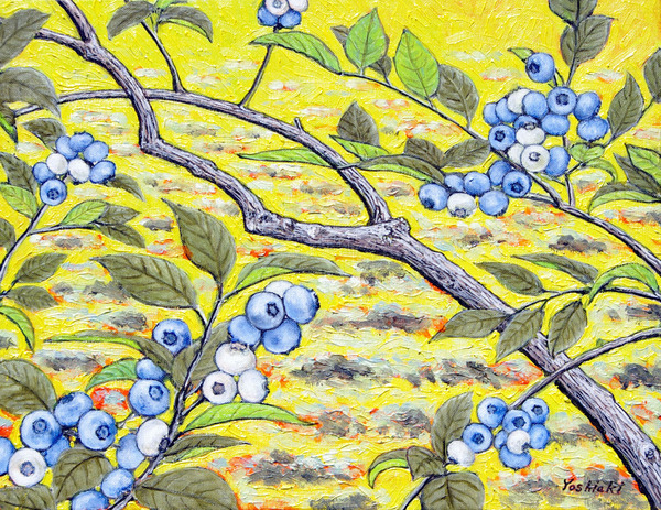 黄色 絵 ブルーベリー