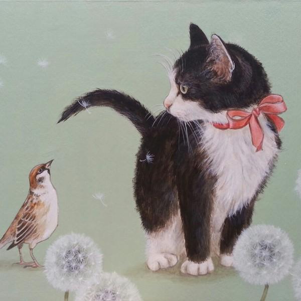 「猫とすずめ」/おちょぴ