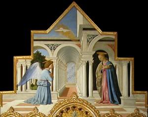 Polyptique de Saint Antoine, peint en 1468, par Piero della Francesca,  Au centre : Vierge El'enfant,  A ses cotés : Saint Antoine de Padoue, Saint Jean-Baptiste, Francis et Elisabeth de Hongrie En haut : l'Annonciation Galerie nationale de l'Ombrie EPérouse (Perugia) installée dans le Palazzo dei Priori.