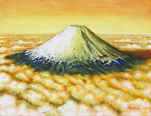「朝日を浴びる富士」
