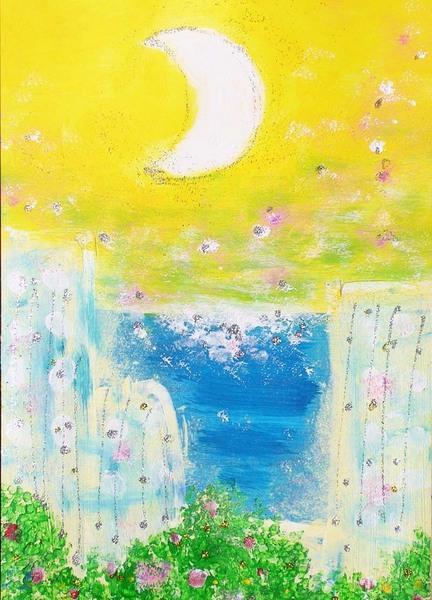 「花香る風と三日月」