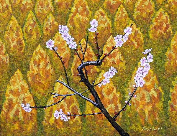 「黄色い林と梅の花」