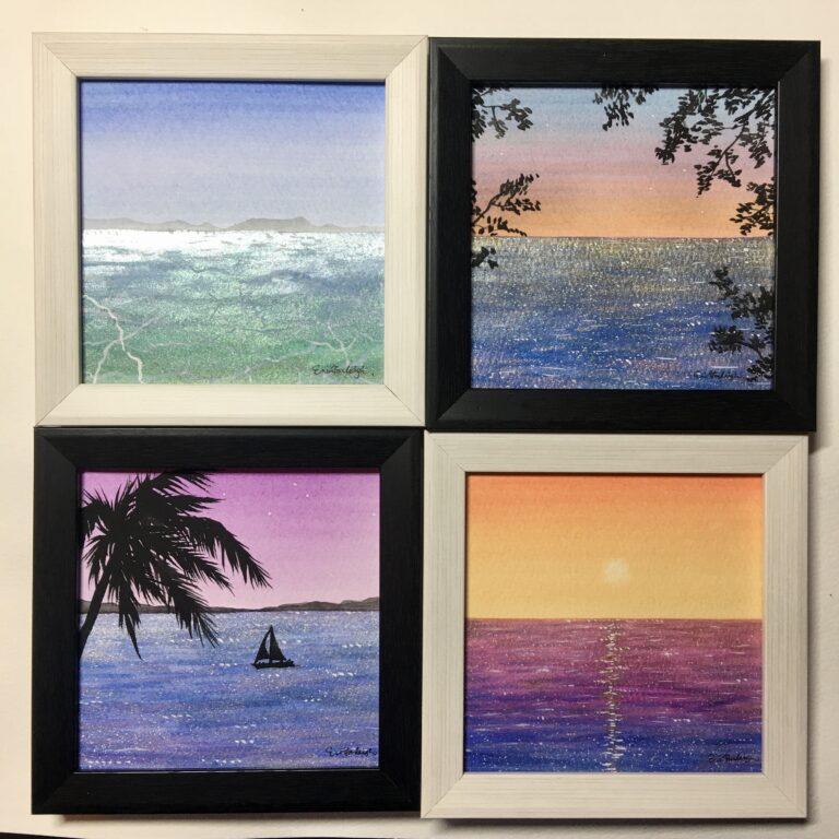 小さな海 ミニ絵画4種セット